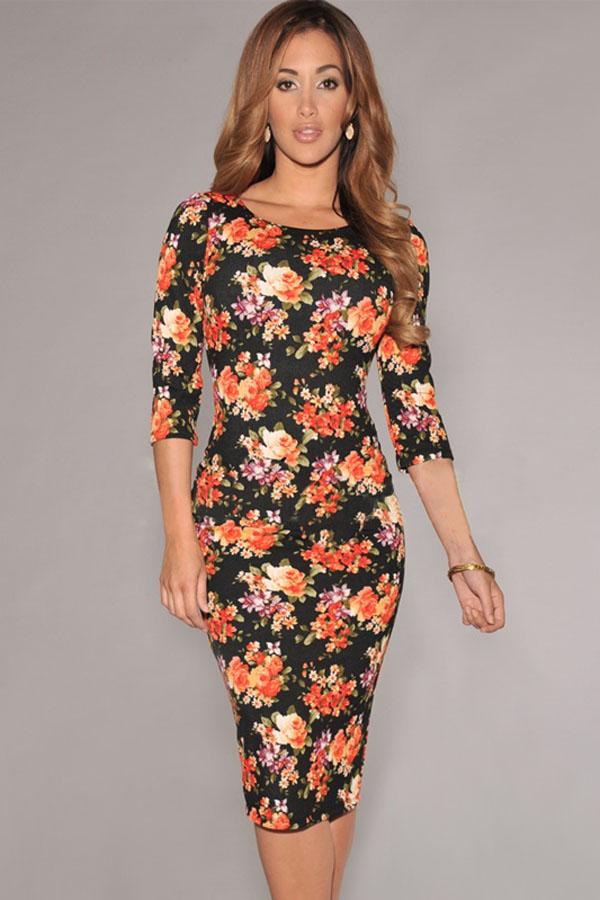 Black-V-Back-Half-Sleeves-Floral-Midi-Dress-LLC6559P-2-3