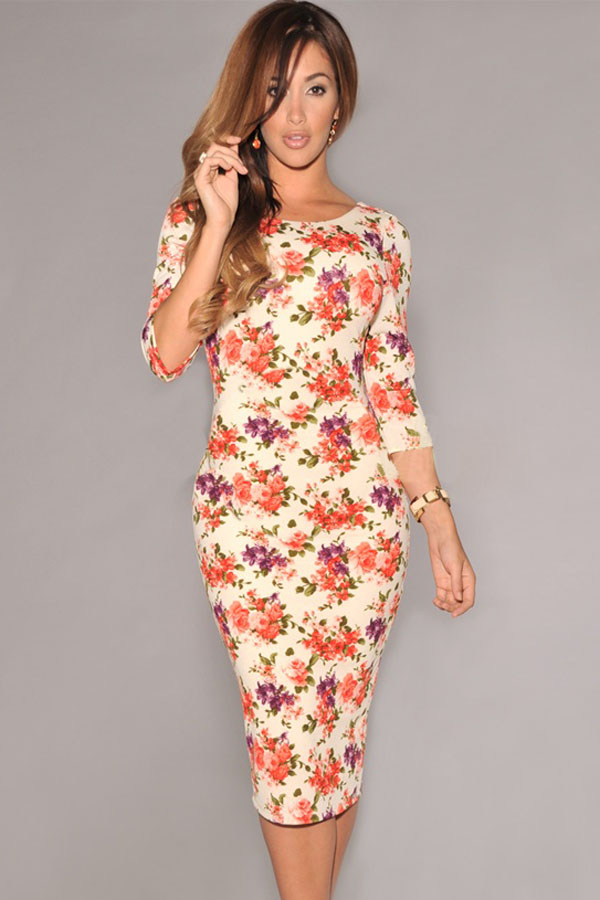 Cream-V-Back-Half-Sleeves-Floral-Midi-Dress-LLC6559P-1-3