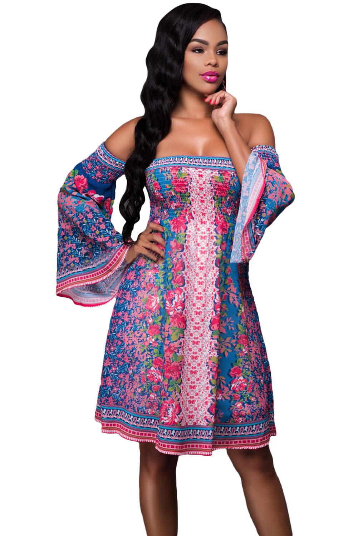 rose bleu imprim floral robe de boho equipez vous prix fous maroc. Black Bedroom Furniture Sets. Home Design Ideas