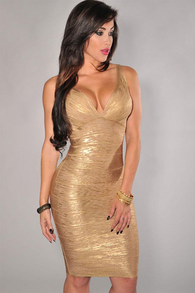 gold-v-neck-foil-detail-crisscross-bandage-dress-llc28072p-2-1