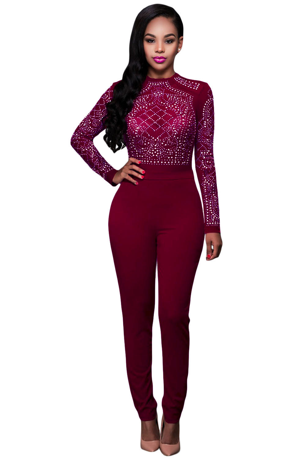 red-long-sleeves-rhinestone-mesh-bodice-formfitting-jumpsuit-llc64168p-3-1